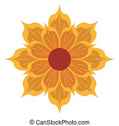 yellow flower icon - yellow detailed petal flower flat...