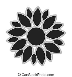 grey flower icon - grey multiple different size petal flower...