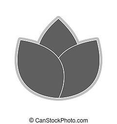 grey flower icon - grey three petal flower flat design icon...