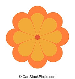flower icon - flat design yellow flower icon vector...
