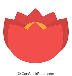 red flower icon - flat design red petal flower icon vector...