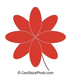 flower icon - flat design red eight petal flower icon vector...