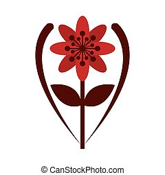 red flower icon - flat design red eight petal flower with...