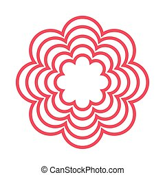 red line flower icon - red line multiple petal flower icon...