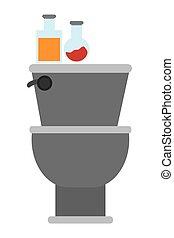 grey toilet icon - flat design toilet with items on top icon...
