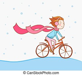 Girl on bike, winter background - A girl riding a bicycle in...