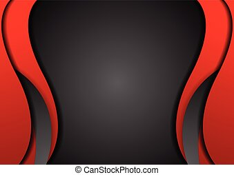 Abstract contrast red black wavy corporate background....