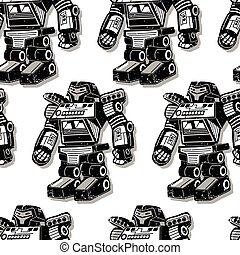 Black robot warrior seamless pattern