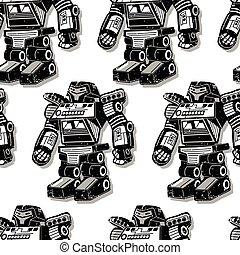 Black robot warrior seamless pattern