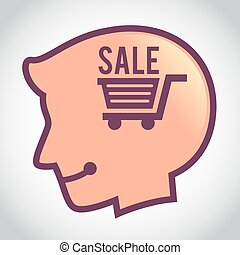 Silhouette of Human Head With Shopping Cart Symbol