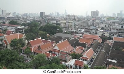 Panoramic view of traditional and new buildings of Bangkok....