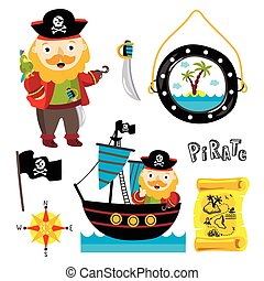 Funny pirate elements isolated on white background