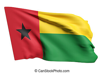Republic of Guinea-Bissau flag waving - 3d rendering of...