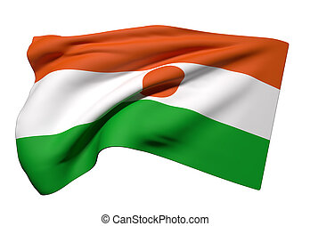 Republic of Niger flag waving - 3d rendering of Republic of...