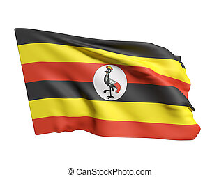Uganda flag waving - 3d rendering of Uganda flag waving on a...