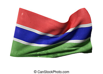 Gambia flag waving - 3d rendering of Gambia flag waving on a...