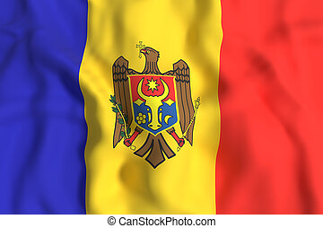 3d rendering of a Moldova flag waving