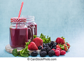mixed berries smoothie with fresh fruits