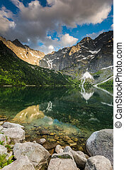 sunset at Morskie Oko lake in Poland. Reflections in cristal...