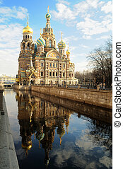 Cathedral of the Resurrection of Christ with reflection in...