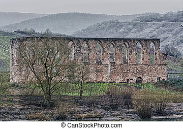 Ruins Monastery in bars, on the Moselle - Old Postcard. HDR...