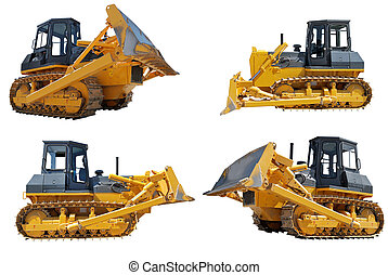 set of bulldozers loaders with raised blade isolated on...