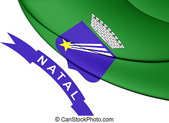 Flag of Natal, Brazil. - 3D Flag of Natal, Brazil. Close Up.
