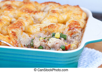 Chicken Pot Pie - Chicken pot pie with ingredients showing...
