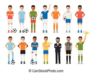 Soccer player, football sport athlete character set