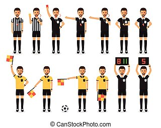 Soccer referee character set - Soccer referees, football...