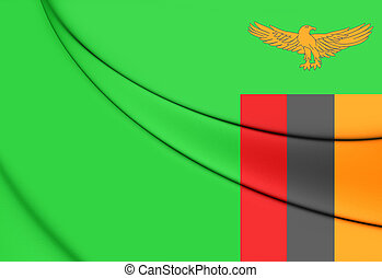 Flag of Zambia - Flag of the Zambia 3D Illustration