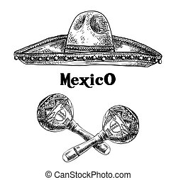 sombrero and maracas - hand drawn sketches of sombrero and...
