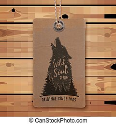 Howling wolf in the forest. Logo template.