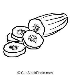 Cuke Sketch Vegetables Outline Vector Artwork, Hand drawn...
