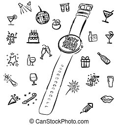 New Years Eve Doodles with Watch