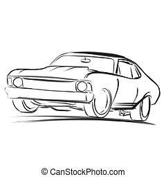 Old Muscle Car Outline Sketch