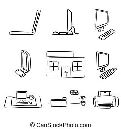 Sketches of Laptops and Desktop PC, E-Learning Assets,...
