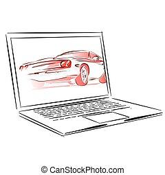 Car Rental App for Laptop Concept Sketch, Vintage Hand Drawn...