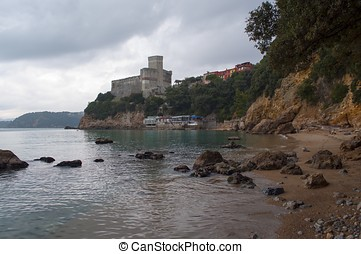 Beach of Lerici in Liguria - View of the Lerici Castle from...