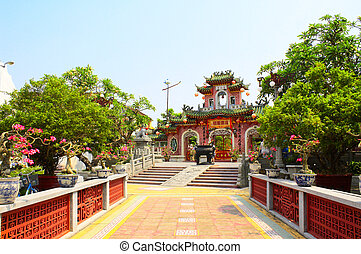 Entrance to Chinese temple Quan Cong, Hoi An, Vietnam -...