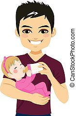 Father Happy Feeding Daughter - Young father happy feeding...