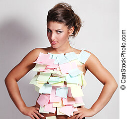 woman and notes paper - young beautiful woman with paper for...