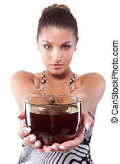 Woman with cup of tea - Beautiful young woman in summer...