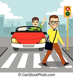 Pedestrian Smartphone Accident - Angry driver in red...