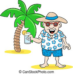 cartoon tourist with drink on holiday