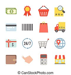 Vector shopping and logistic icons