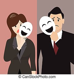 Fake business woman holding a smile mask. Metaphor concept