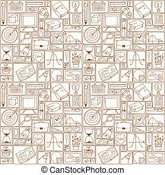 Seamless hand drawn pattern about school and learning. Back to school seamless pattern with science icons.