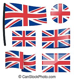 collection flags Great Britain - collection of different...