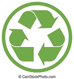 green recycling sign in circle isolated on white background